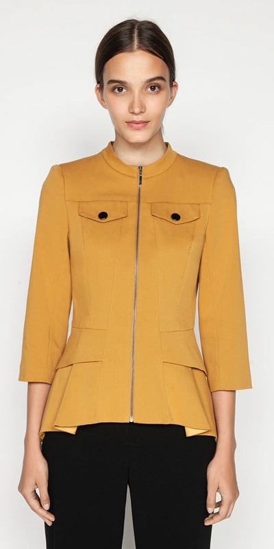 Jackets  | Zip Front Peplum Jacket