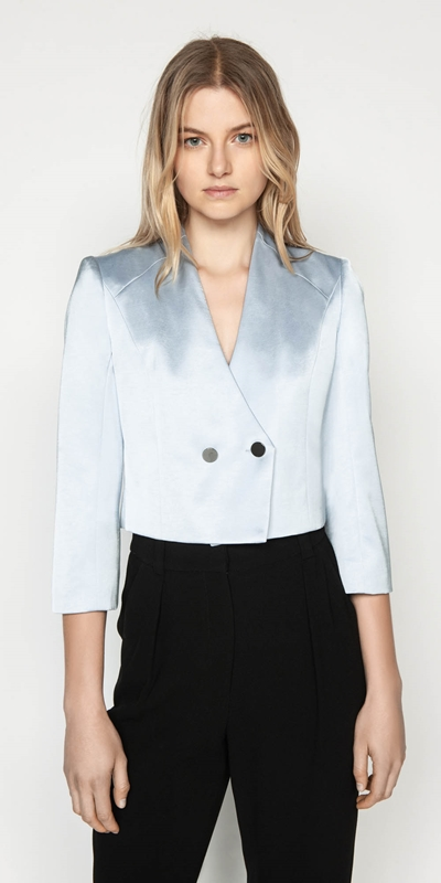 Jackets  | Textured Satin Cropped Jacket