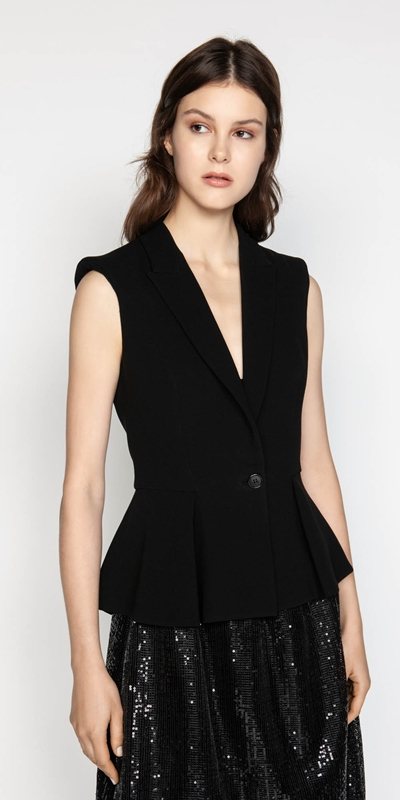 Jackets  | Sculptured Shoulder Peplum Jacket