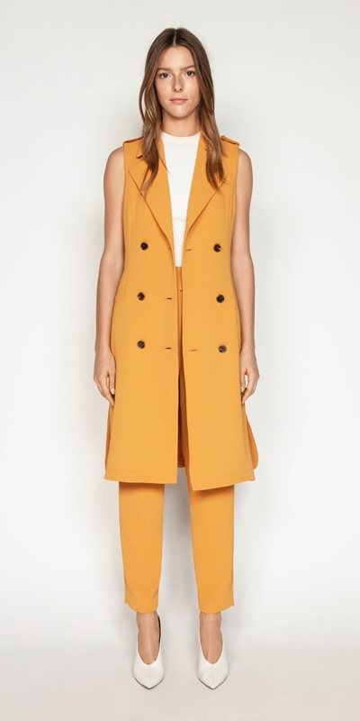 Jackets | Crepe Sleeveless Trench