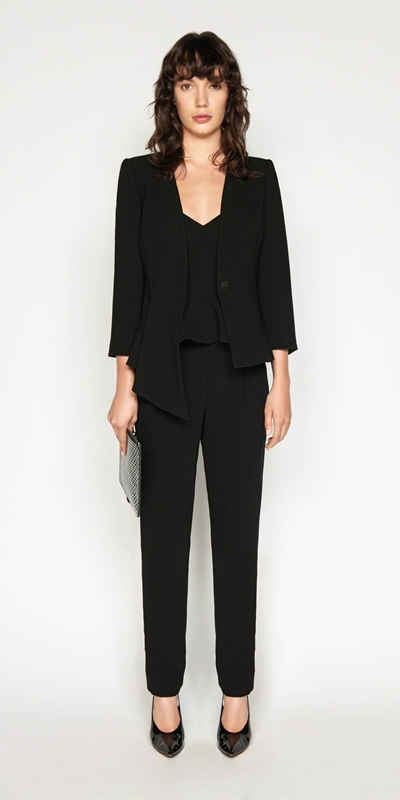 Jackets | Asymmetric Draped Peplum Jacket