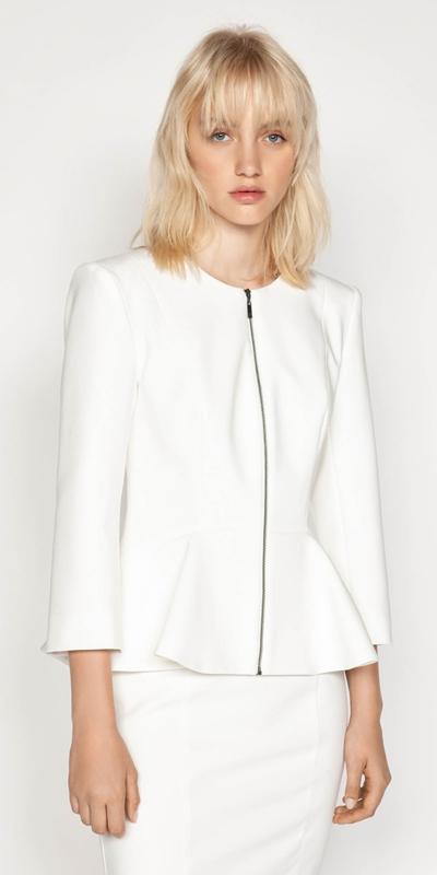 Jackets | Zip Front Peplum Jacket