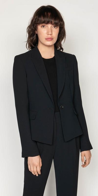 Jackets | Crepe Tuxedo Collar Jacket