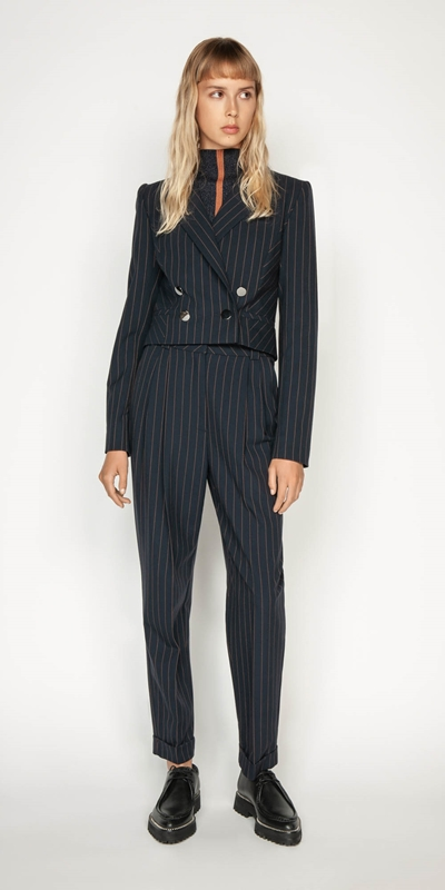 Wear to Work | Camel Pinstripe Cropped Jacket