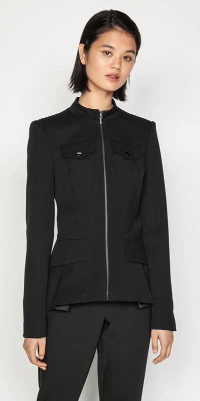 Jackets | Twill Zip Front Peplum Jacket