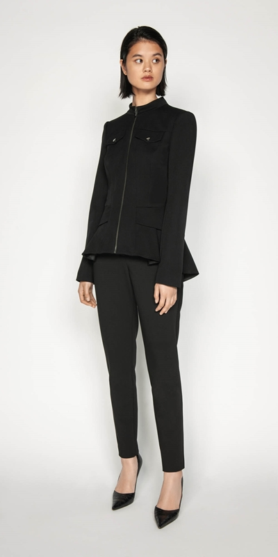 Jackets | Twill Zip Front Peplum Jacket