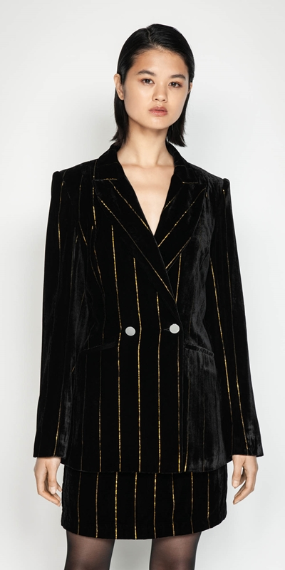 Jackets | Gold Stripe Velvet Jacket