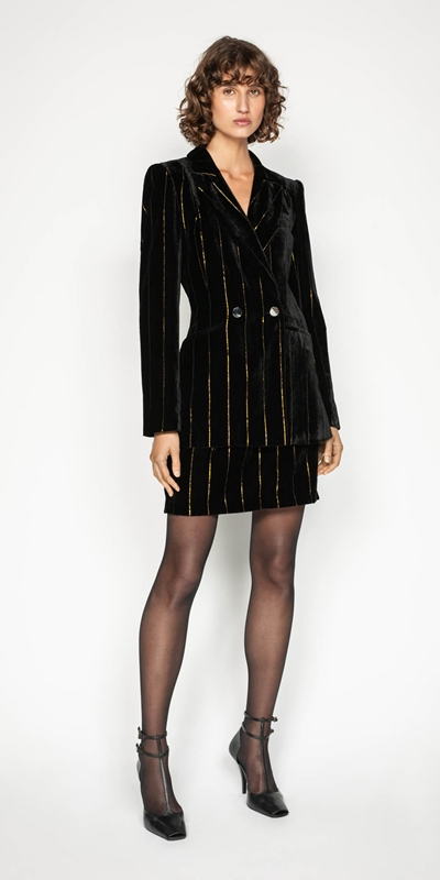 Wear to Work | Gold Stripe Velvet Jacket