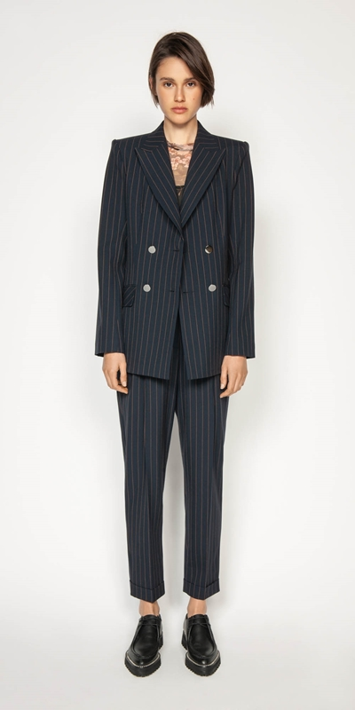 Jackets | Camel Pinstripe Double Breasted Blazer