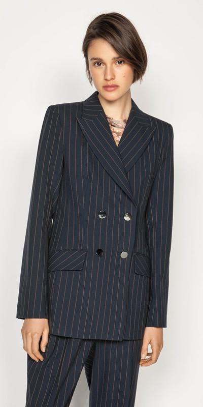 Work From Home  | Camel Pinstripe Double Breasted Blazer