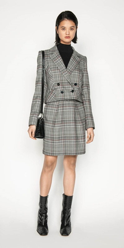 Sale | Wool Blend Check Cropped Jacket