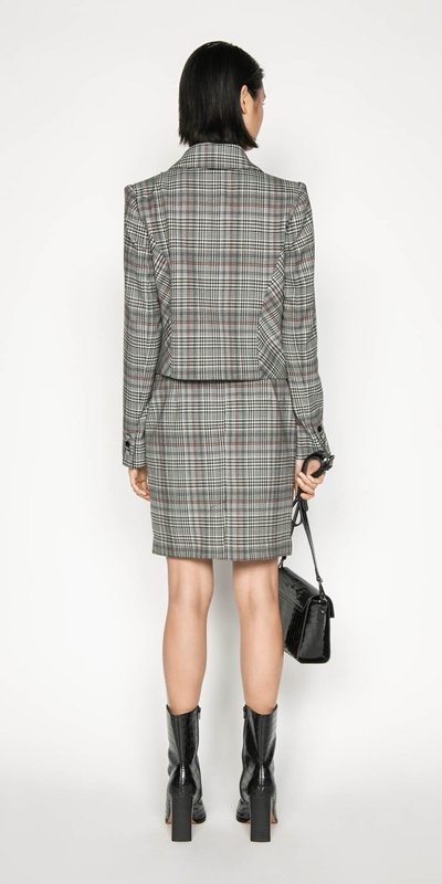 Jackets | Wool Blend Check Cropped Jacket
