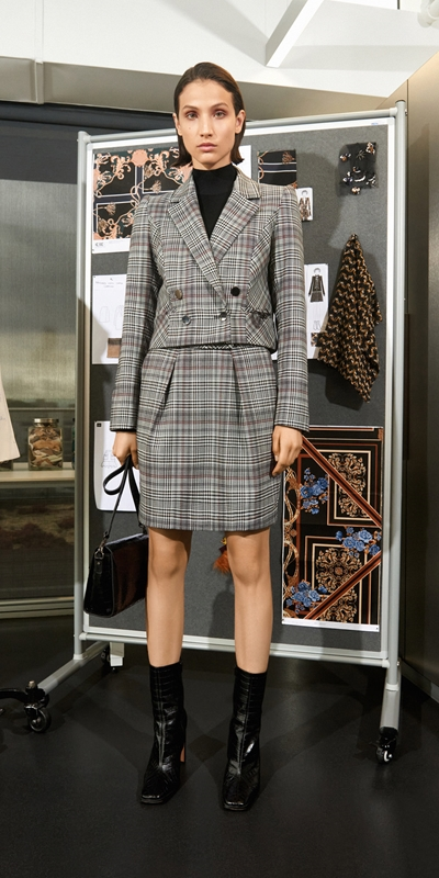 Wear to Work  | Wool Blend Check Cropped Jacket
