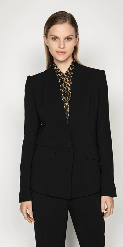 Wear to Work  | Crepe Collarless Jacket