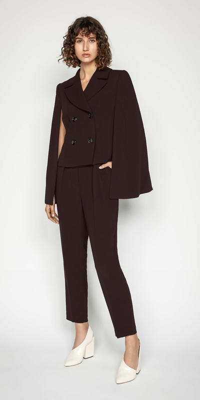 Jackets | Plum Crepe Cape Jacket