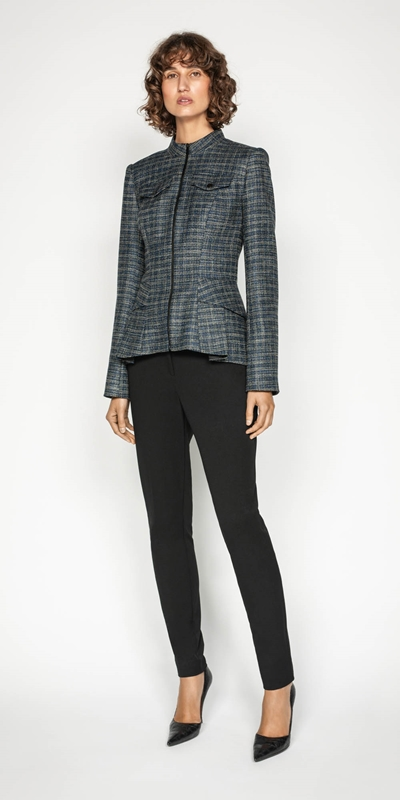 Jackets | Melange Tweed Zip Front Peplum Jacket