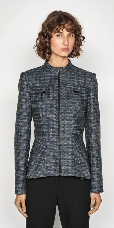 Wear to Work  | Melange Tweed Zip Front Peplum Jacket