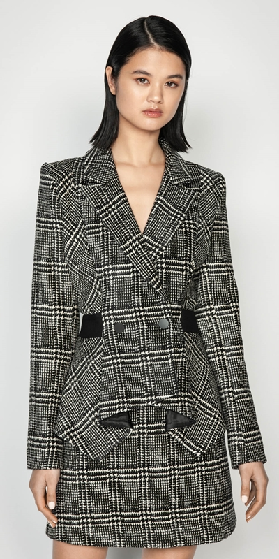 Jackets  | Chenille Check Peplum Jacket