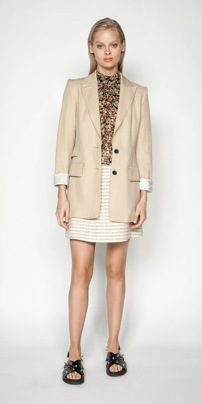 Wear to Work | Sand Linen Blend Blazer