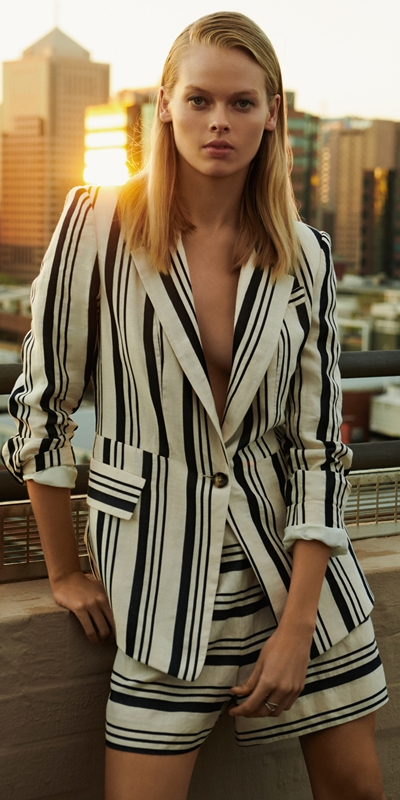 Wear to Work  | Striped Linen One Button Jacket