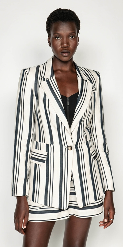 Jackets | Striped Linen One Button Jacket