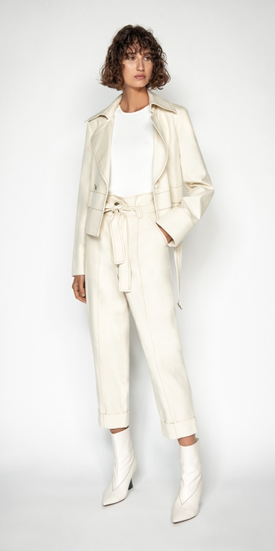 Coats | Topstitched Cotton Blend Trench Jacket