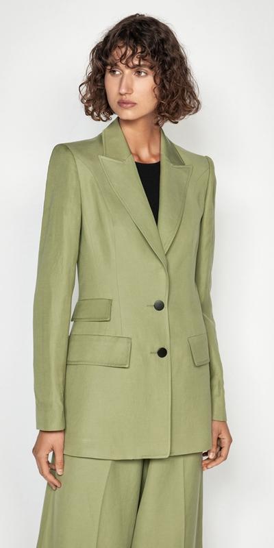 Jackets | Army Linen Blend Blazer