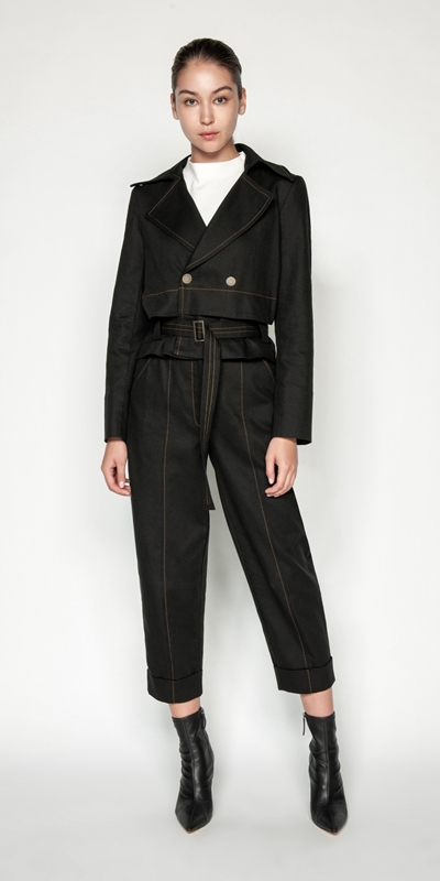 Sale | Topstitched Cotton Blend Trench Jacket