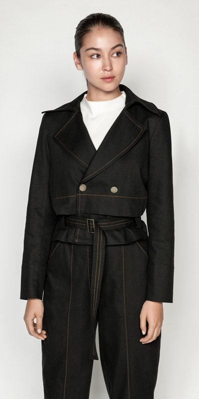 Jackets | Topstitched Cotton Blend Trench Jacket