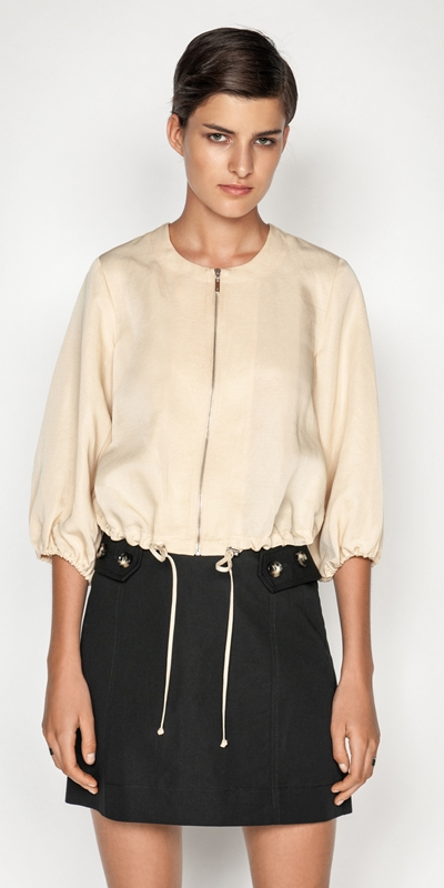 Made in Australia  | Linen Cropped Zip Front Jacket