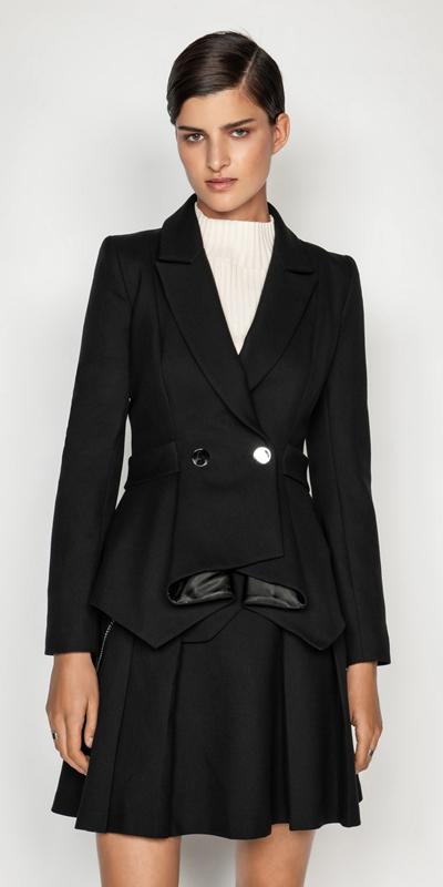 Jackets   Cotton Twill Peplum Jacket