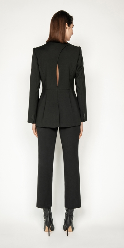 Jackets and Coats   Double Twill Back Cut Out Blazer