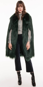 Jackets | Forest Faux Fur Cape