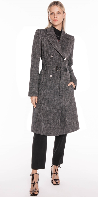 Jackets | Brushed Tweed Belted Coat