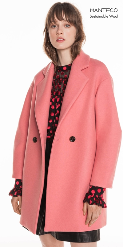 Coats | Pink Double Breasted Coat