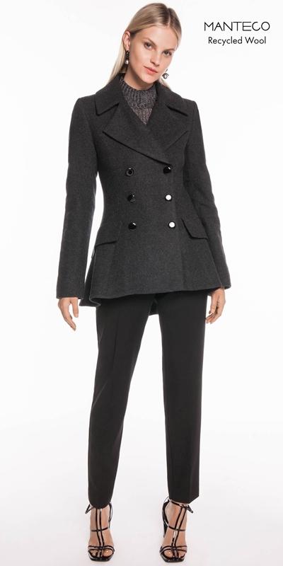 Coats   Charcoal Melange Double Breasted Jacket