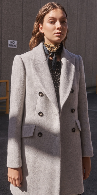 Jackets  | Textured Wool Double Breasted Coat