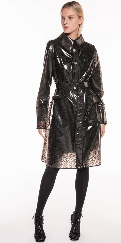 Jackets | Leopard PVC Trench Coat