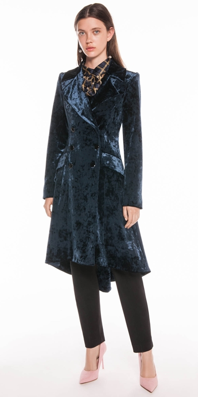 Coats | Crushed Velvet Double Breasted Coat