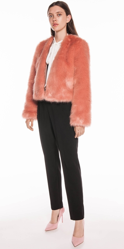 Pants | Blush Faux Fur Cropped Coat