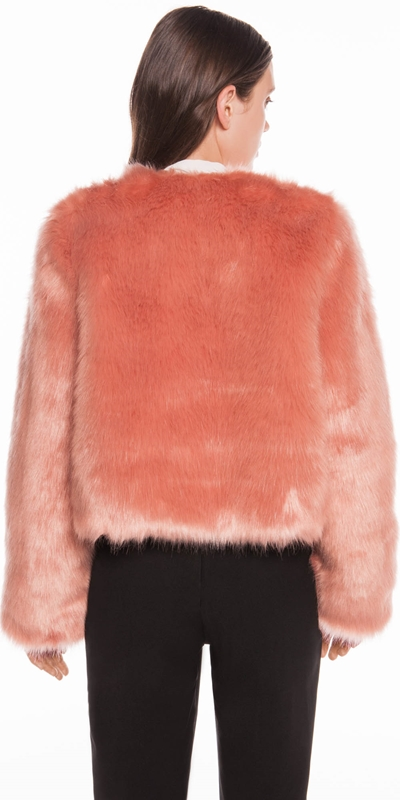 Coats | Blush Faux Fur Cropped Coat
