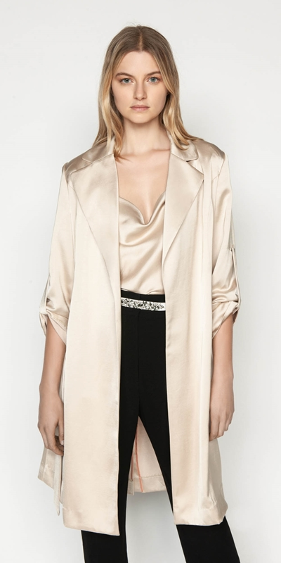 Jackets  | Textured Satin Trench