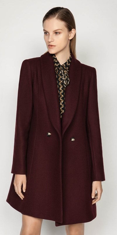 Coats | Burgundy Double Breasted Coat