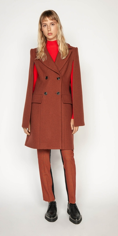 Coats | Russet Double Breasted Cape