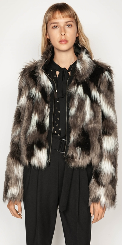 Jackets  | Monochrome Faux Fur Jacket
