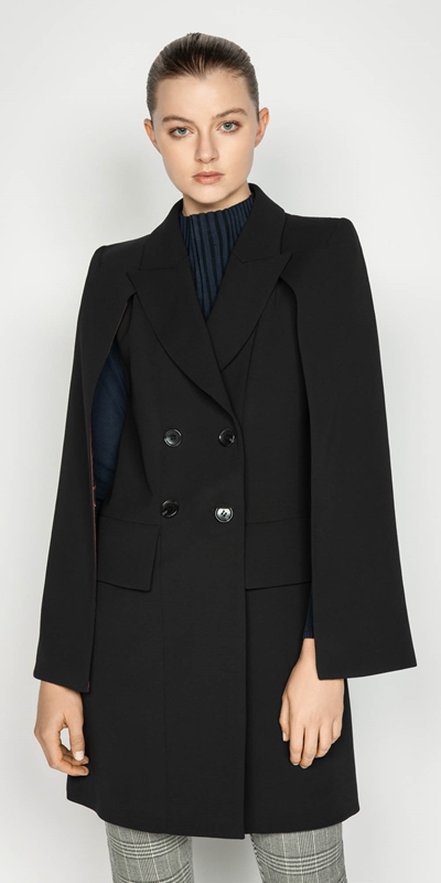 Coats | Crepe Double Breasted Cape
