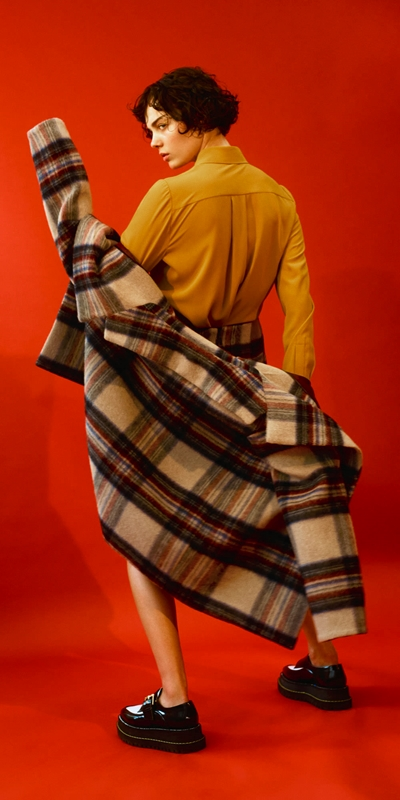 Coats  | Plaid Wool Relaxed Coat