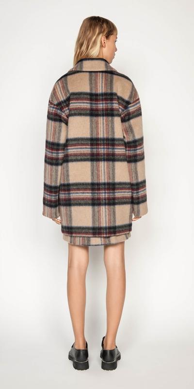 Coats   Plaid Wool Relaxed Coat