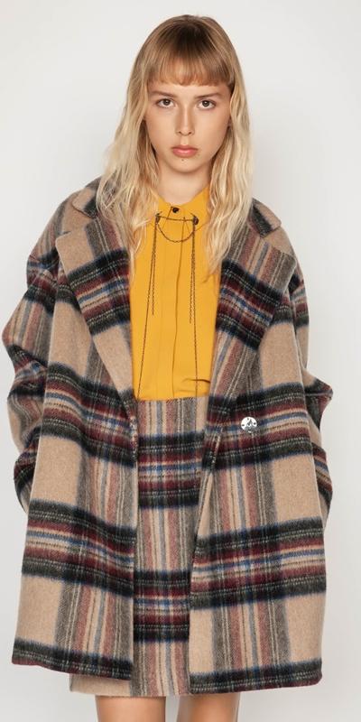 Coats | Plaid Wool Relaxed Coat