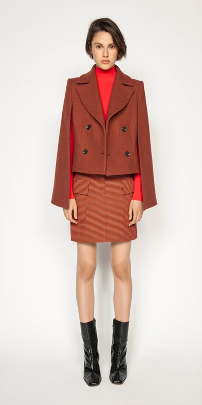 Jackets | Russet Cropped Cape